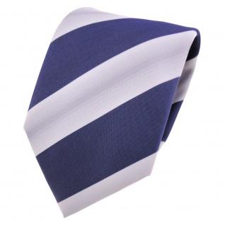 Designer Krawatte blau dunkelblau saphirblau grau gestreift - Schlips Binder Tie
