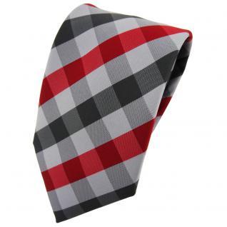 TigerTie Krawatte rot dunkelrot silber grau anthrazit kariert - Tie Binder
