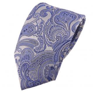 TigerTie Seidenkrawatte blau hellblau silber Paisley - Krawatte Seide Silk Tie