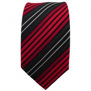 Schmale TigerTie Krawatte rot anthrazit schwarz silber gestreift - Binder Tie