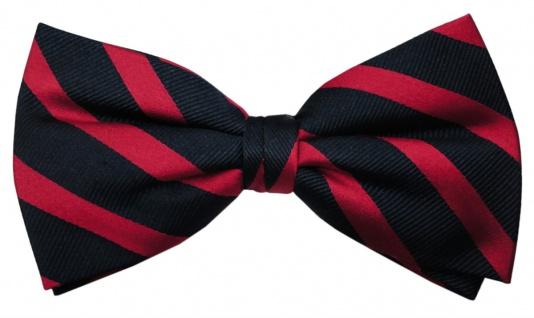 TigerTie Designer Seidenfliege rot verkehrsrot blau royal gestreift - 100% Seide - Vorschau