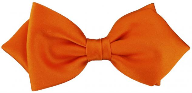 vorgebundene TigerTie Spitzfliege Schleife in orange Einfarbig + Geschenkbox