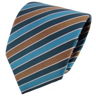 TigerTie Satin Krawatte türkis ozeanblau gold silber gestreift - Binder Tie