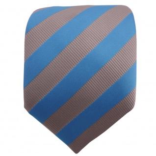 TigerTie Satin Krawatte blau himmelblau grau silber gestreift - Schlips Binder - Vorschau 2