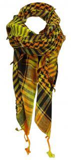 TigerTie Halstuch in gelb orange schwarz gemustert mit Fransen -Gr. 100 x 100 cm