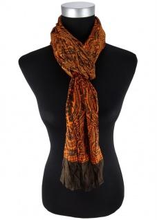 Raffschal in orange dunkelbraun Paisley gemustert - Schal Größe 180 x 50 cm