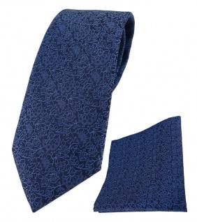 TigerTie Krawatte + Einstecktuch in blau marine dunkelblau florales Muster