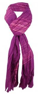 gecrashter Chiffon Schal in lila magenta rosa mit Fransen - Gr. 180 x 50 cm