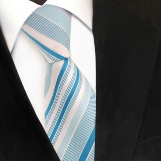 TigerTie Designer Krawatte mint türkis pastelltürkis silber gestreift - Binder - Vorschau 3