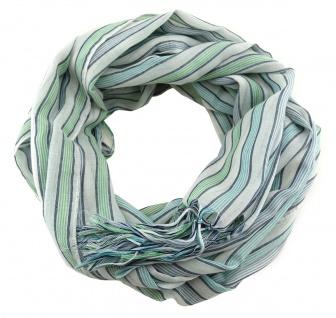 Schal in grün blau grau weiss gestreift mit Fransen - Gr. 180 x 50 cm