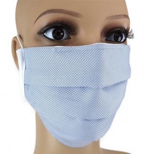 TigerTie Gesichtsmaske mit Nasenbügel Pique hellblau gemustert mit Gummiband