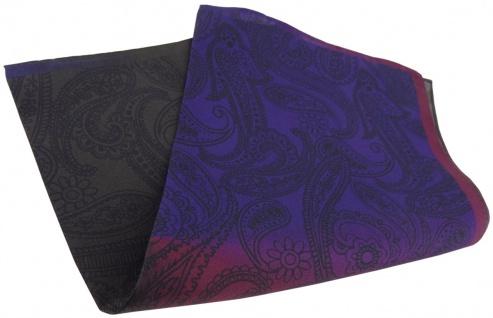 TigerTie Seideneinstecktuch in violett lila bordeaux dunkelbraun schwarz Paisley