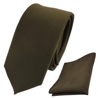 schmale TigerTie Schlips Krawatte + Einstecktuch grün flaschengrün uni Binder