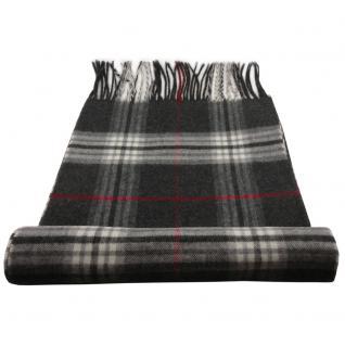 Feiner Designer Schal in anthrazit grau rot creme kariert - Stoff Cashmink