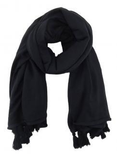 TigerTie Halstuch in schwarz einfarbig mit kleinen Tusseln - Gr. 130 x 130 cm