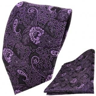 TigerTie Designer Krawatte + Einstecktuch lila violett flieder Paisley gemustert