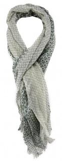 TigerTie Schal grau mit Grünstich creme gemustert - Gr. 190 x 70 cm - 100% Wolle