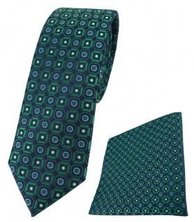 schmale TigerTie Krawatte + Einstecktuch in grün blau silber schwarz gemustert