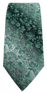 TigerTie Designer Krawatte in grün anthrazit grausilber geblümt gemustert - Vorschau 2