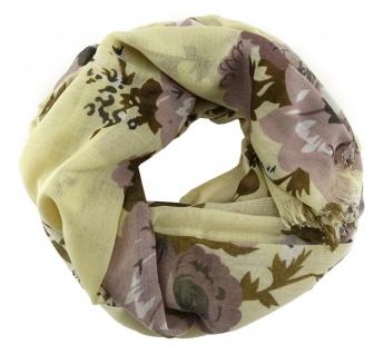 Chiffon Schal in beige braun rose weissgrau mit Blumenmotiven gemustert
