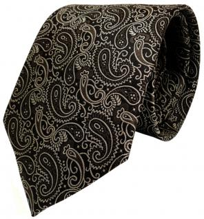 TigerTie Seidenkrawatte braun anthrazit silber paisley gemustert -Krawatte Seide