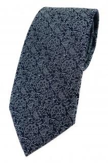 TigerTie Designer Krawatte silbergrau feiner grünstich schwarz florales Muster