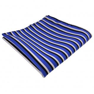 TigerTie Einstecktuch blau ultramarin schwarz weiss gestreift - Tuch Polyester