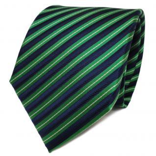 TigerTie Designer Seidenkrawatte grün royal silber gestreift - Krawatte Seide
