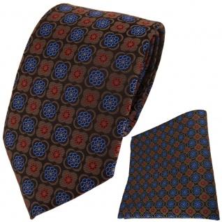TigerTie Designer Krawatte + Einstecktuch braun rot schwarz blau gemustert