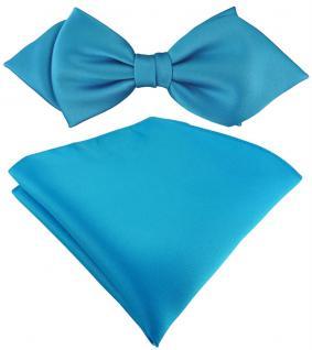 vorgebundene TigerTie Spitzfliege + Einstecktuch in türkisblau einfarbig + Box