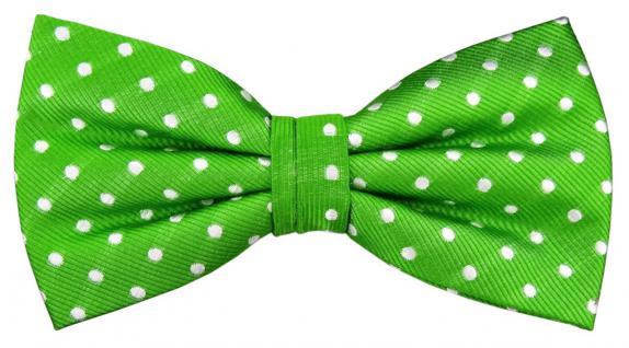 Designer Seidenfliege grün leuchtgrün silber weiß gepunktet - Fliege Seide Silk - Vorschau