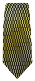 schmale TigerTie Designer Krawatte in gelb gold schwarz silber gemustert - Vorschau 2