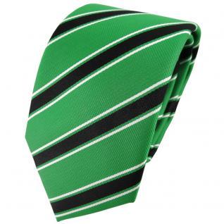 TigerTie Designer Krawatte grün knallgrün schwarz weiß gestreift - Binder Tie
