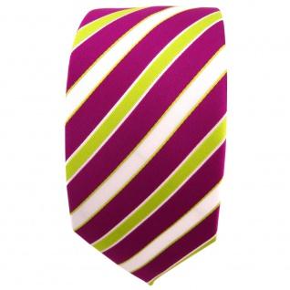Schmale TigerTie Krawatte magenta fuchsia grün weiß gestreift - Binder Tie - Vorschau 2