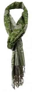 TigerTie Schal in grün creme gemustert - Größe 180 x 30 cm - 100% Viscose