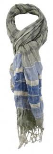 TigerTie Schal in grau blau creme gestreift mit Fransen 190 x 60 cm