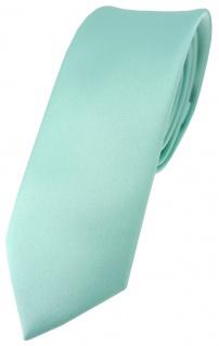 schmale TigerTie Satin Krawatte in mint grün Uni einfarbig - Schlips Binder Tie