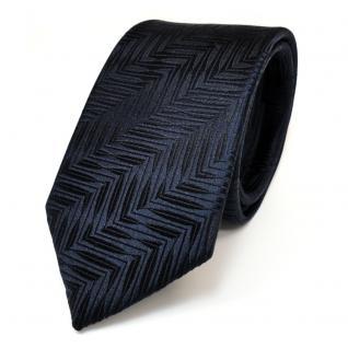 Schmale Designer Seidenkrawatte blau dunkelblau schwarzblau gemustert - Krawatte