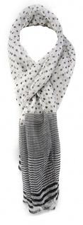 TigerTie Chiffon Schal schwarz weiß gepunktet und gestreift - Gr. 180 x 50 cm