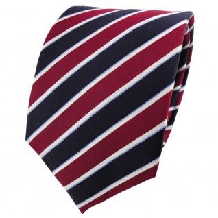 Satin Seidenkrawatte rot blau dunkelblau silber gestreift - Krawatte Seide Tie