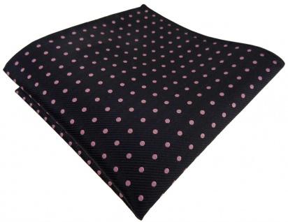 TigerTie Seideneinstecktuch in schwarz rosa gepunktet - Einstecktuch 100% Seide