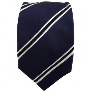 Enrico Sarto Seidenkrawatte blau schwarz weiß gestreift - Krawatte Seide Tie - Vorschau 2