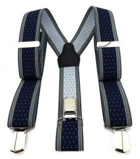 TigerTie Unisex Hosenträger mit 3 extra starken Clips - dunkelblau gold silber