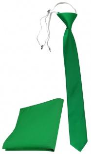 TigerTie Sicherheits Krawatte + Einstecktuch grün knallgrün einfarbig Uni Rips