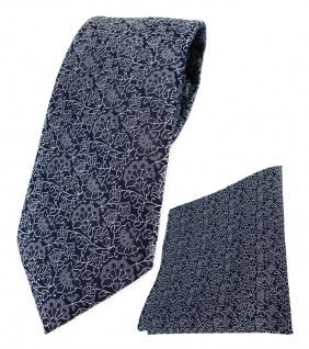 TigerTie Designer Krawatte + Einstecktuch in silber grau schwarz florales Muster