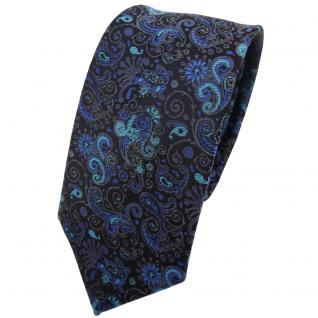Schmale TigerTie Krawatte türkis ozeanblau schwarz grau gemustert Paisley - Tie