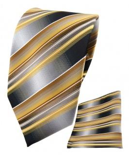 TigerTie Seidenkrawatte + Einstecktuch in gold gelb grau silber weiß gestreift