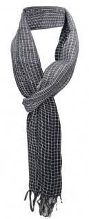 TigerTie Schal in schwarz grau weiss gemustert mit Fransen - Gr. 180 x 50 cm