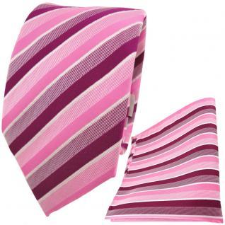 TigerTie Krawatte + Einstecktuch in rosa pink magenta fuchsia weiß gestreift