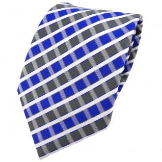 TigerTie Designer Krawatte in blau grau silber weiss gestreift - Tie Binder